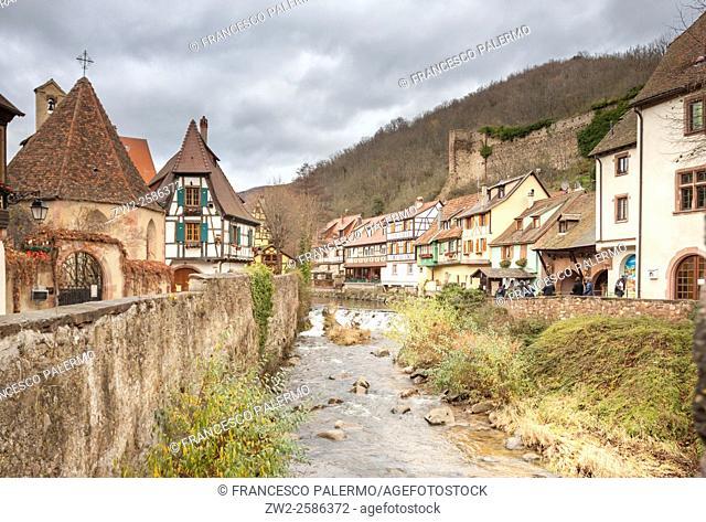 Typical building Alsatian houses. Kaysersberg, Alsace. France