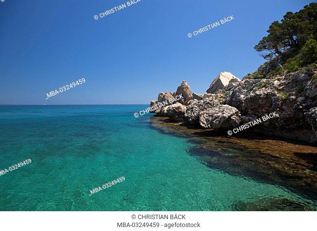 The bay of the Cala Luna, Golfo di Orosei, East sardinia, Sardinia, Italy, Europe