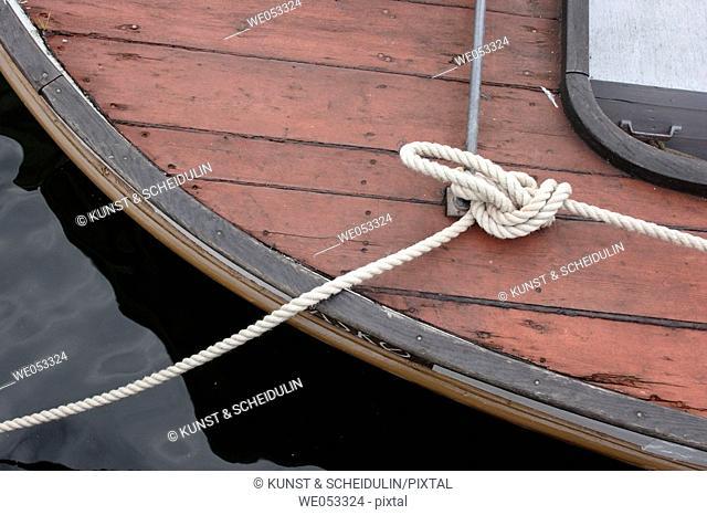 Ropes on a replica viking-ship, Viking-ship museum, Roskilde, Denmark, Scandinavia, Europe