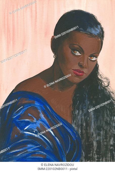 Dark-skinned woman with long hair