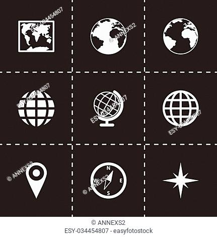 Vector world map icon set on black background