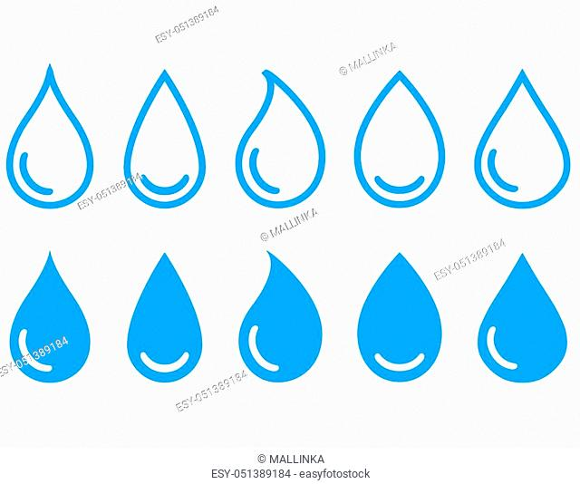 blue linear water drops set on white background