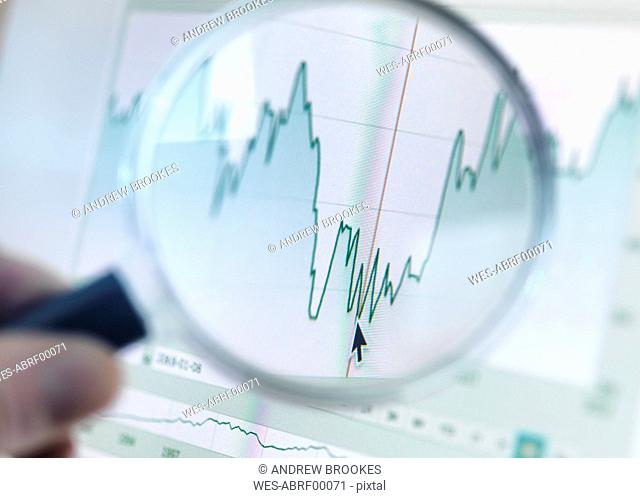 Investor analysing line graph on computer screen with magnifying glass