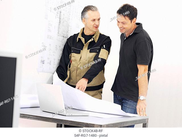 Craftsman advising customer