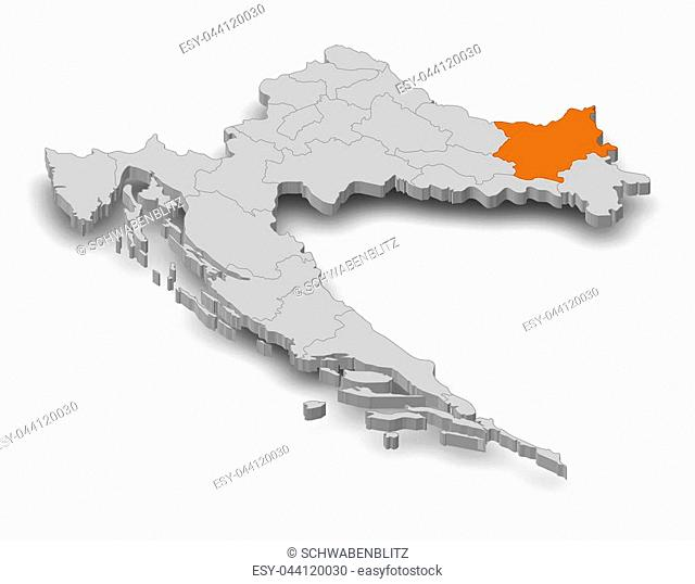 Map of Croatia as a gray piece, Osijek-Baranja is highlighted in orange