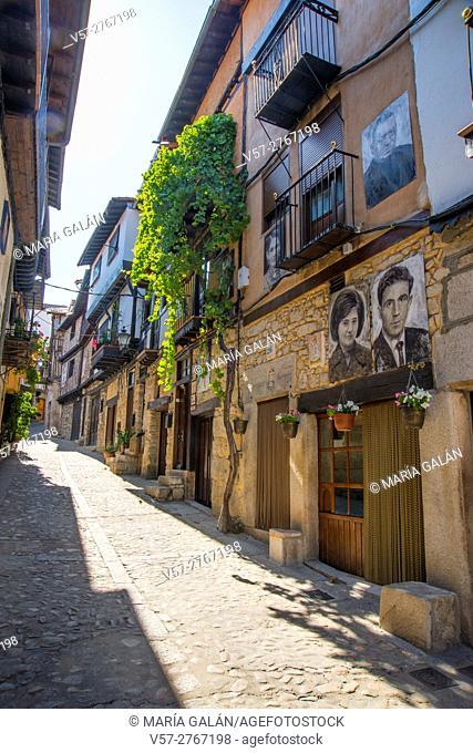 Traditional houses with portraits painted on them. Mogarraz, Sierra de Francia Nature Reserve, Salamanca province, Castilla Leon, Spain