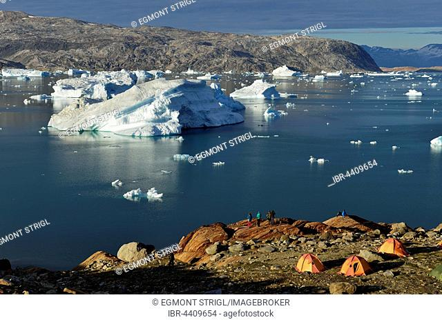 Tourist camp with tents, Johan Petersen Fjord, East Greenland, Greenland