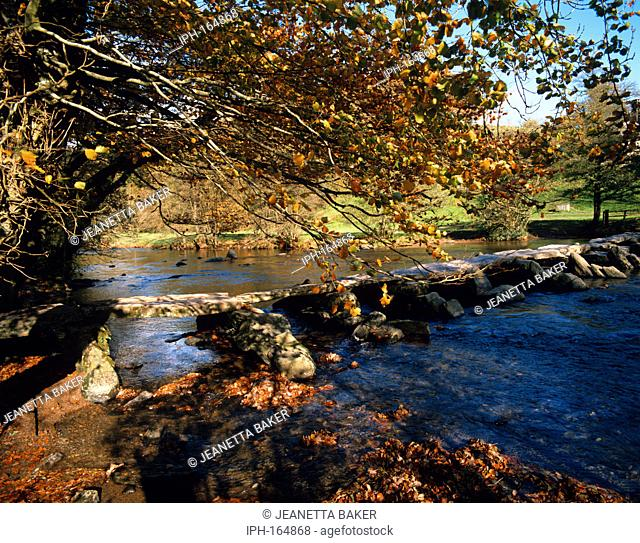 Autumn view of Tarr Steps in Exmoor, a prehistoric stone Clapper Bridge over the River Barle