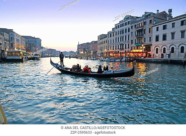 Grand Canal by dusk on January 23, 2016 in Venice Italy