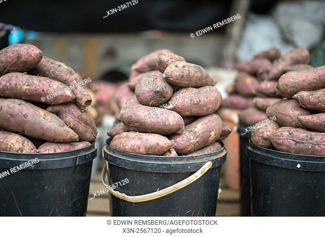 Yams for sale at the Manzini Wholesale Produce and Craft Market in Swaziland, Africa