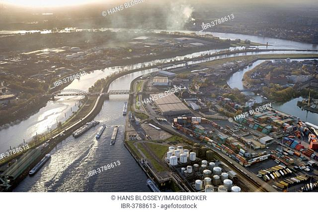 Port of Duisburg, Duisport, Ruhr River, aerial view, Homberg-Ruhrort-Baerl, Duisburg, Ruhr area, North Rhine-Westphalia, Germany