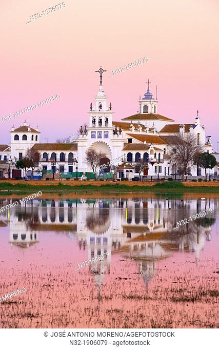 El Rocio village and Hermitage at Sunset, Almonte  El Rocio, El Rocío  Marismas de Doñana, Doñana National Park, Huelva province, Andalusia  Spain