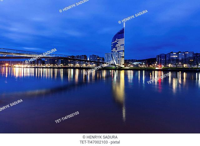 Belgium, Wallonia, Liege, Reflections in Meuse River
