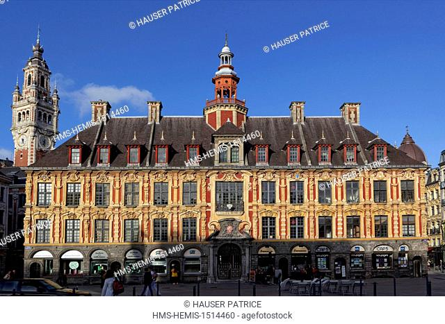 France, Nord, Lille, Old Town, Old Exchange seen from the Grand Place (Place du General de Gaulle)