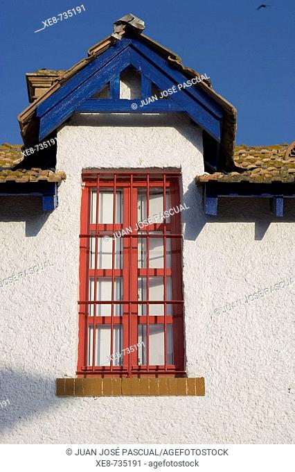 Detail of typical house in miner's district, Huelva. Andalucia, Spain