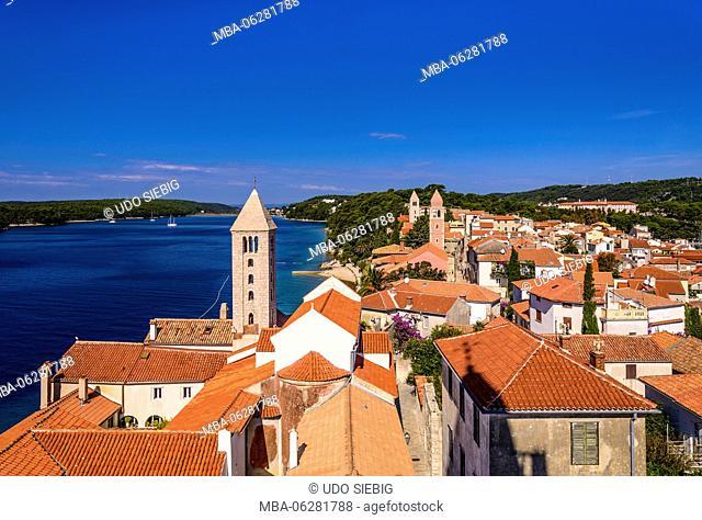Croatia, Kvarner Gulf, Rab Island, Rab Town, Old Town, view from the bell tower Sveta Marija na Škriljinah (church)