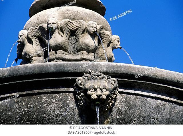 Lion's head and winged maidens, detail from a fountain in Piazza della Rocca, by Jacopo da Vignola (Vignola, 1507-Rome, 1573), Rome, Lazio, Italy