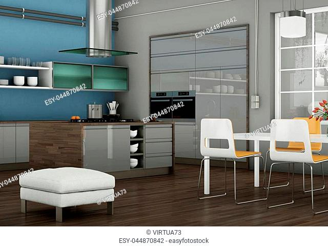 3d Illustration of grey modern kitchen in a loft with beautiful design