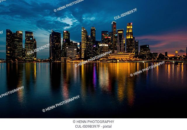 Skyline of Singapore, by night