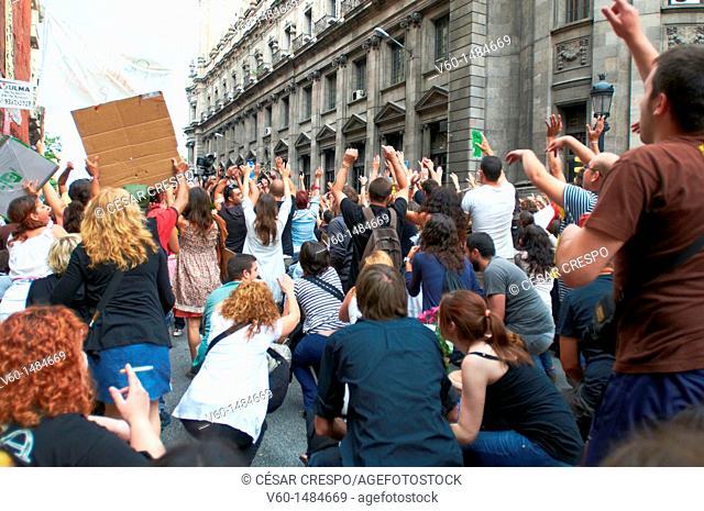 -Demonstrations Indignants Movement 15M- Barcelona (Spain)