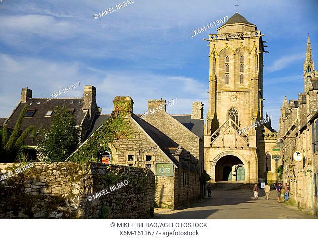 Street view and St Ronan church  Locronan Lokorn in Breton Finistère department in Bretagne in northwestern France
