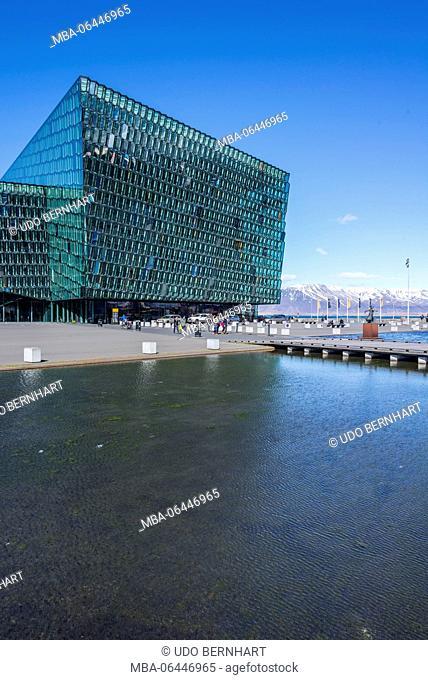 Iceland, capital of Reykjavík, smoke bay, peninsula Reykjanesskagi, conference centre and concert hall Harpa, outside