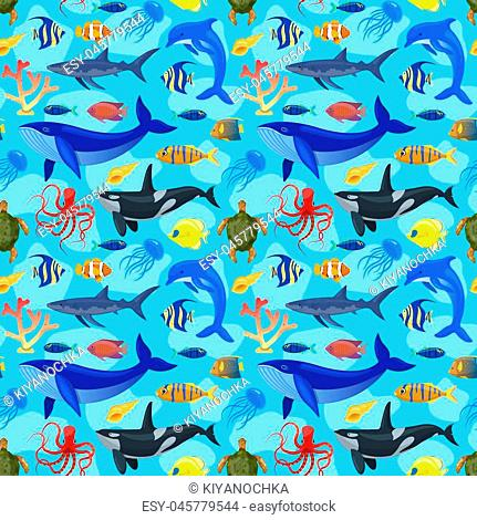 Seamless pattern with ocean animals on blue background