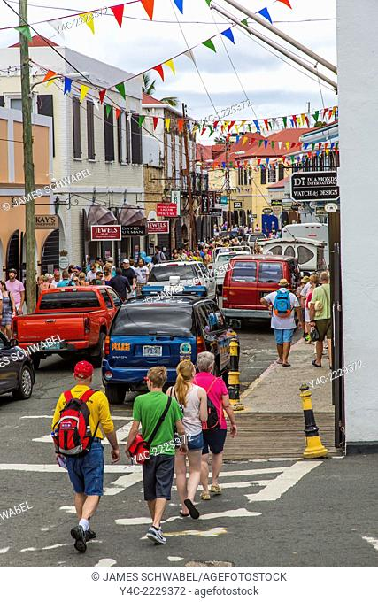 Dronningens Gade or Main Street in Charlotte Amalie on the Craibbean Island of St Thomas in the US Virgin Islands