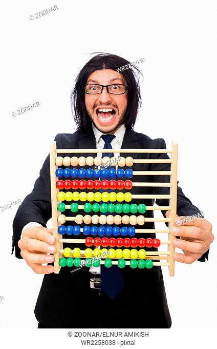 The funny man with calculator and abacus