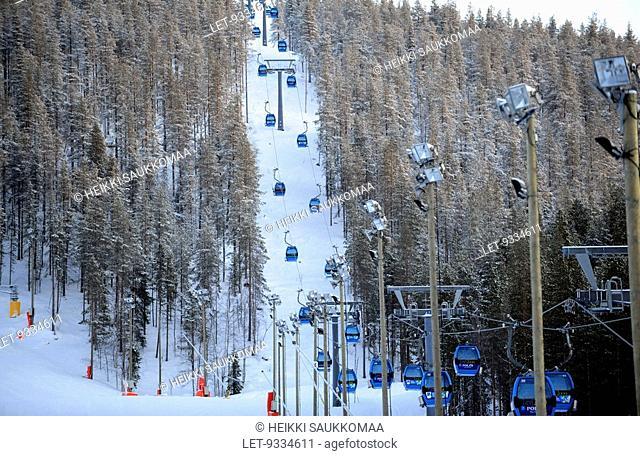 Ski lifts at Levi, Finland. Kittila
