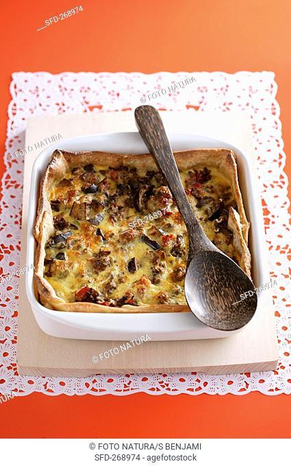 Moussaka in baking dish