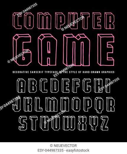 Decorative sanserif bulk font. Typeface in the style of hand-drawn contour graphics. Color print on black background