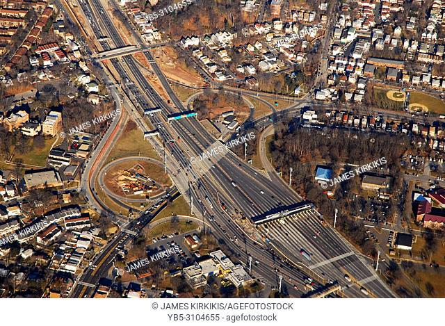 An aerial view of a toll booth leading to the Queens Midtown Tunnel in Queens, New York