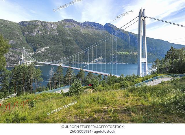 Hardanger Bridge over the Eidfjorden from above, Norway, Scandinavia, suspension bridge Hardangerbrua, Hardangerfjord between Ullensvang and Ulvik