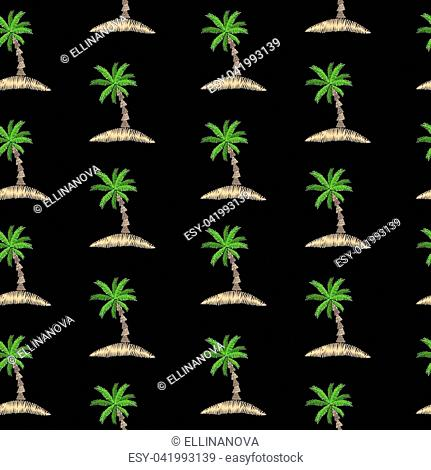 Seamless pattern with embroidery stitches imitation little palm tree. Exotic palm tree embroidery pattern vector background for printing on fabric
