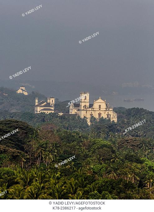 View seen from Capello Do Monte in Old Goa (Mount Mary church), Goa, India