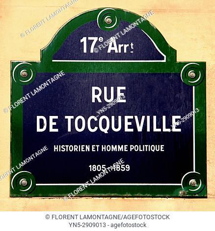 Plaque rue de Tocqueville, 75017, Paris, Ile de France, street plate