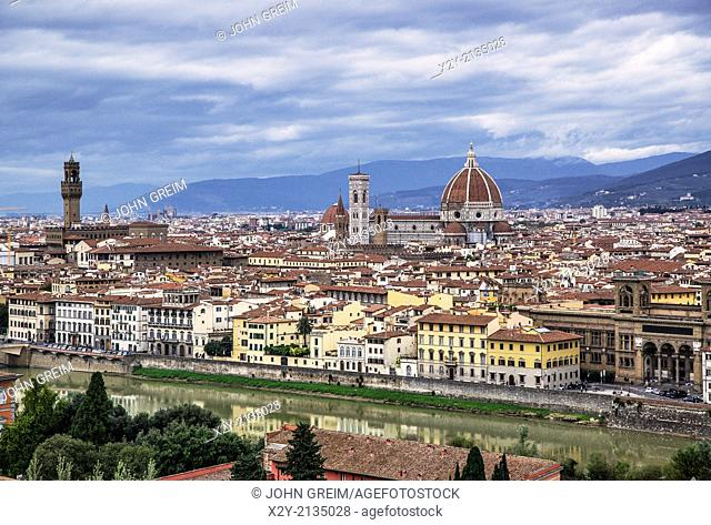 City view and Santa Maria del Fiore Cathedral, Florence, Italy