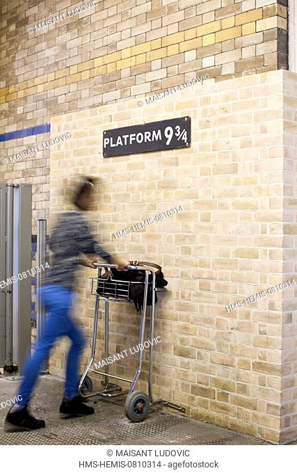 United Kingdom, London, King's Cross station, platform 9 ¾ as used by Harry Potter to board the Hogwarts Express