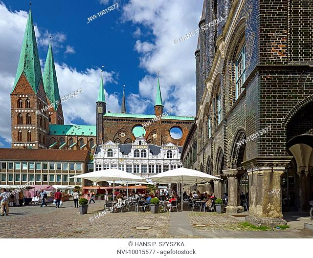 St. Marys Church and City Hall at market square, Hanseatic City of Lübeck, Schleswig-Holstein, Germany