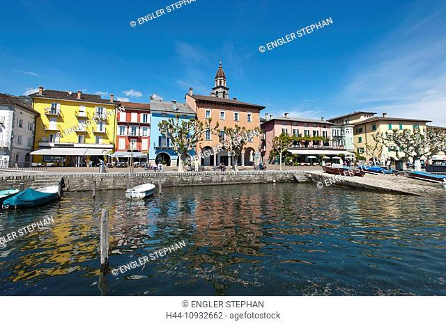 Switzerland, Europe, Ticino, Ascona, Lago Maggiore, lake, harbour, port, houses, homes