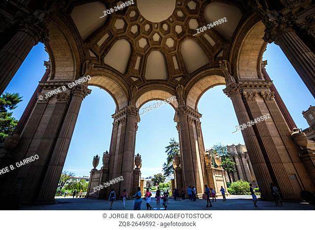 Inside the dome of the Palace of Fine Arts in San Francisco, California