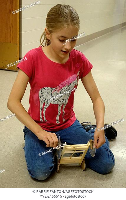 6th Grade Girl in Technology Class, Wellsville, New York, United States