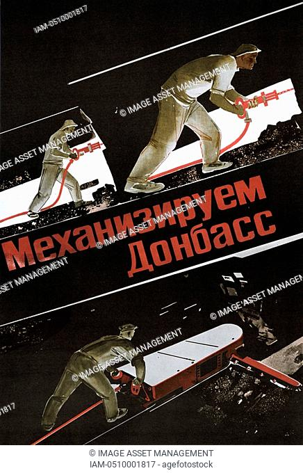 Russian coal miners working underground using drills and a coal-cutting machine. Poster c1930