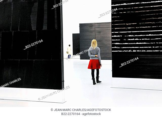 The new museum Soulages, Pierre Soulages, the painter of outrenoir, ultrablack, museum designed by the Catalan firm of RCR, architects Aranda, Pigem and Vilalta