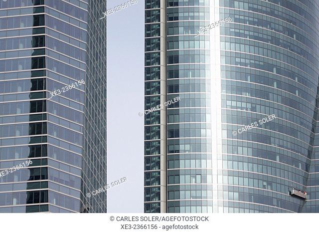 Torre Espacio and Torre de Cristal. Cuatro Torres Business Area (Four Towers Business Area). Paseo de la Castellana. Madrid. Spain