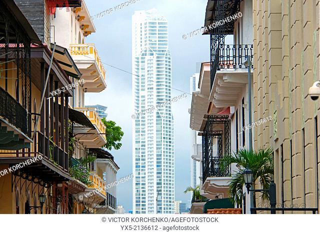 Balconies of the historical Casco Viejo and a downtown skyscraper in Panama City