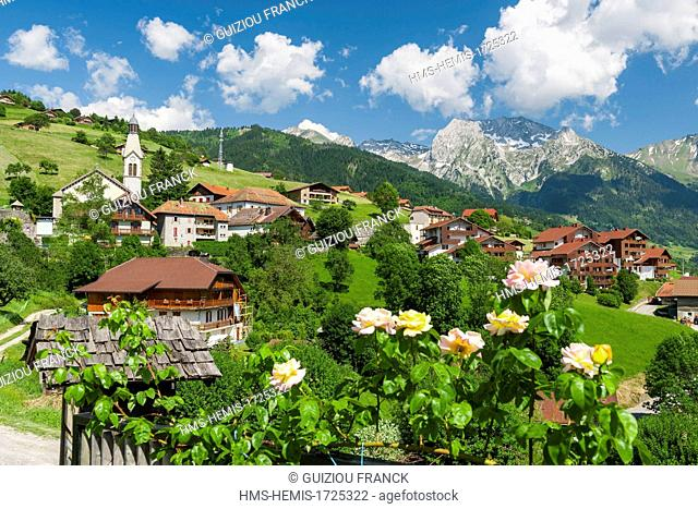 France, Haute-Savoie, the village of Manigod in the heart of the Aravis massif