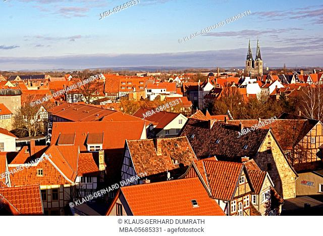 Quedlinburg, town view from Schlossberg (hill)