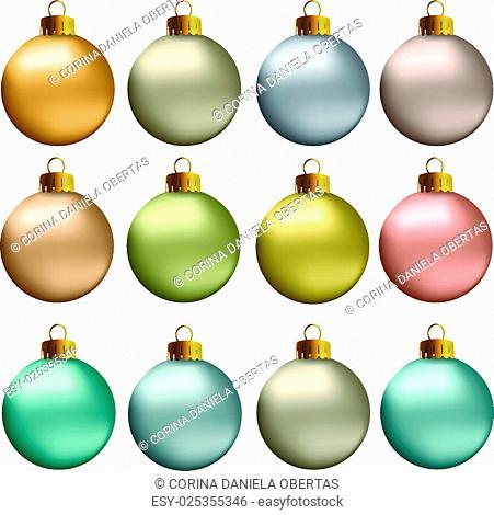 Set of vectors - Christmas balls in earth, natural, pastel metallic colors